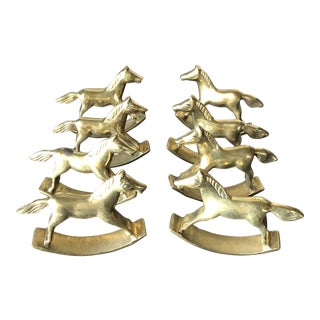 Vintage Rocking Horse Brass Napkin Rings For Sale