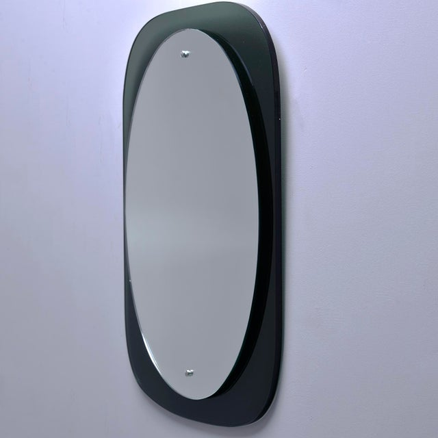 Silver Cristal Art Oval Mirror With Black Glass Base For Sale - Image 8 of 11