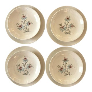 Mid-Century Modern Pink & Blue Floral Plates - Set of 8