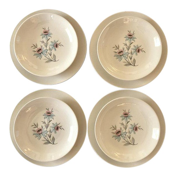 Mid-Century Modern Pink & Blue Floral Plates - Set of 8 For Sale