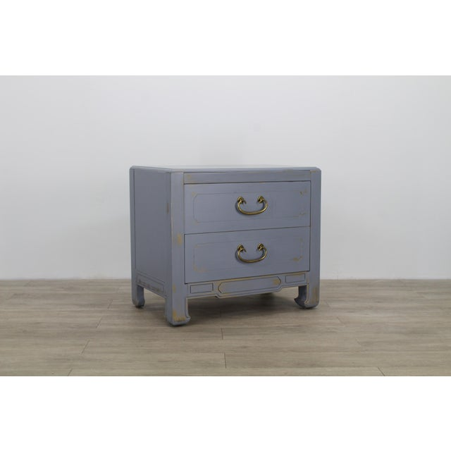 Pair of Mid-Century Gray Nightstands, Hand Painted Nightstands, Pair of Gray Nightstands, 1970's Nightstands For Sale - Image 10 of 13