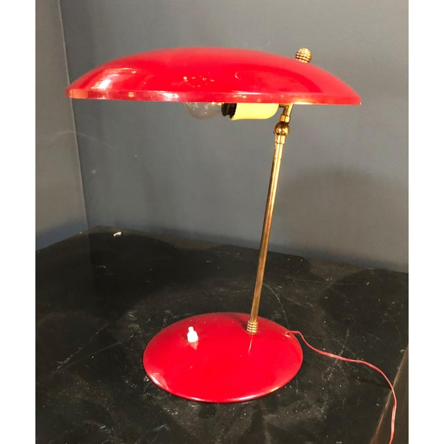 Red 1950s Brass and Red Enameled Metal Italian Sculptural Table Lamp For Sale - Image 8 of 9