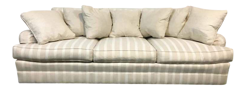 Exceptionnel Frederick Edward White Satin Striped Upholstered Sofa