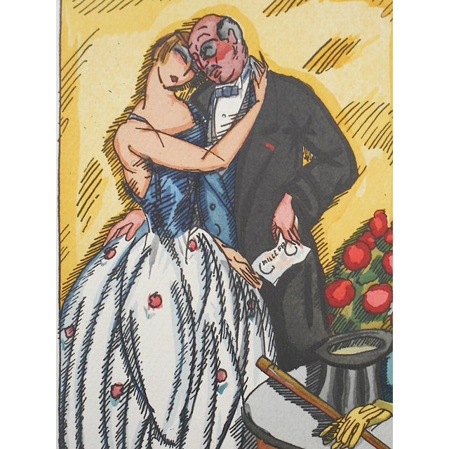 "Vintage Ltd. Ed. Hand Colored Image By Guy Arnoux""Les Femmes De Ce Temps""-L'Interessee- Self Interest-France-1920 - Image 3 of 8"