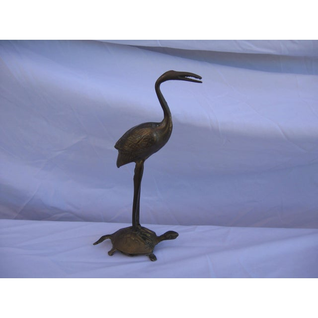 Brass Crane and Turtle Figure For Sale - Image 5 of 6