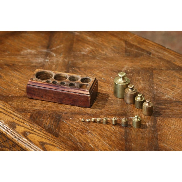 19th Century French Napoleon III Walnut and Brass Scale With Set of Weights For Sale - Image 11 of 12