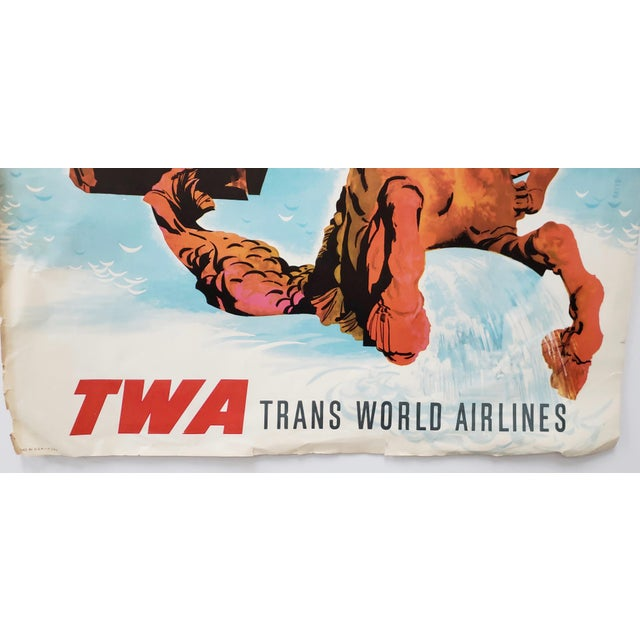 Original Vintage Travel Poster Rome via Twa Trans World Airlines C.1960s For Sale - Image 4 of 10