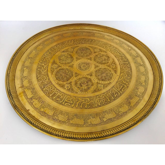Indo-Persian Handcrafted Decorative Hammered Brass Tray For Sale - Image 4 of 13