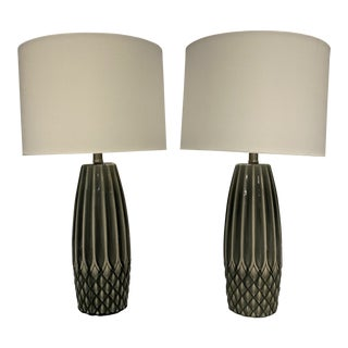 Gray Ceramic Table Lamps With Shades - a Pair For Sale