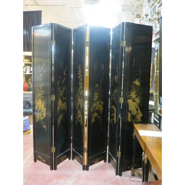Vintage Chinese Gold Painted Wood and Mother of Pearl 6-Panel Screen, 1950s For Sale - Image 11 of 12