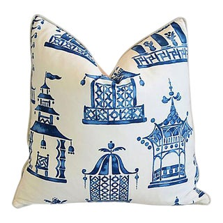 Custom Blue & White Chinoiserie Pagoda Feather/Down Pillow For Sale