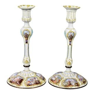George III Battersea Enamel Candlesticks - a Pair For Sale