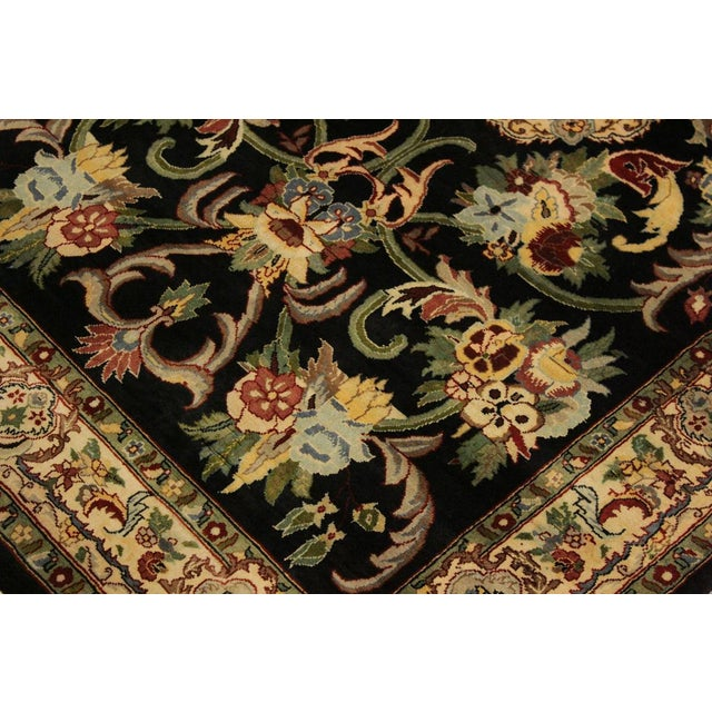 Anarkali Pak-Persian Eleanore Black/Ivory Wool Rug - 4'1 X 6'3 For Sale In New York - Image 6 of 8