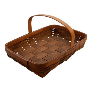 1970s Country Style Wooden Basket For Sale