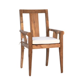 Simple Outdoor Teak Arm Chair W/Cushion For Sale