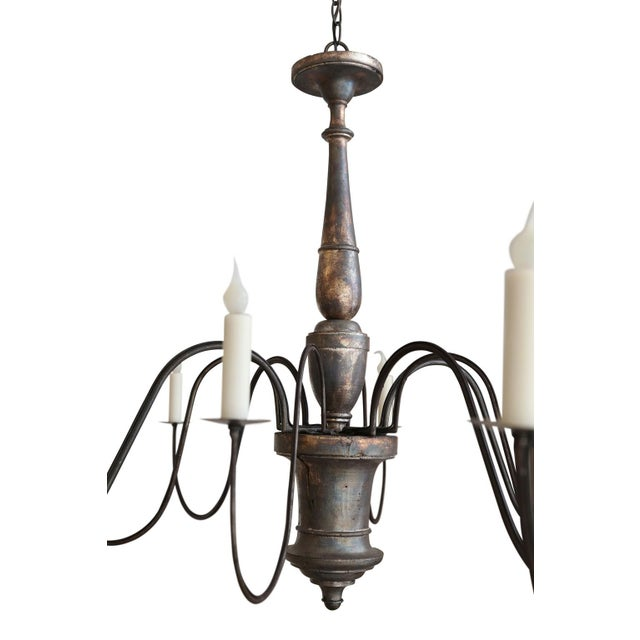 Iron Italian Silver-Gilt Chandelier For Sale - Image 7 of 10