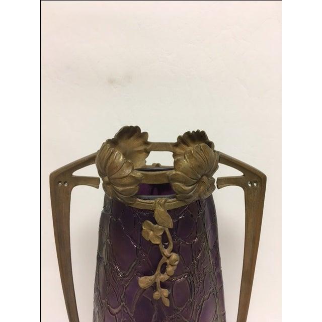 Art Nouveau Kralik Vase in Bronze Armature For Sale In Chicago - Image 6 of 8