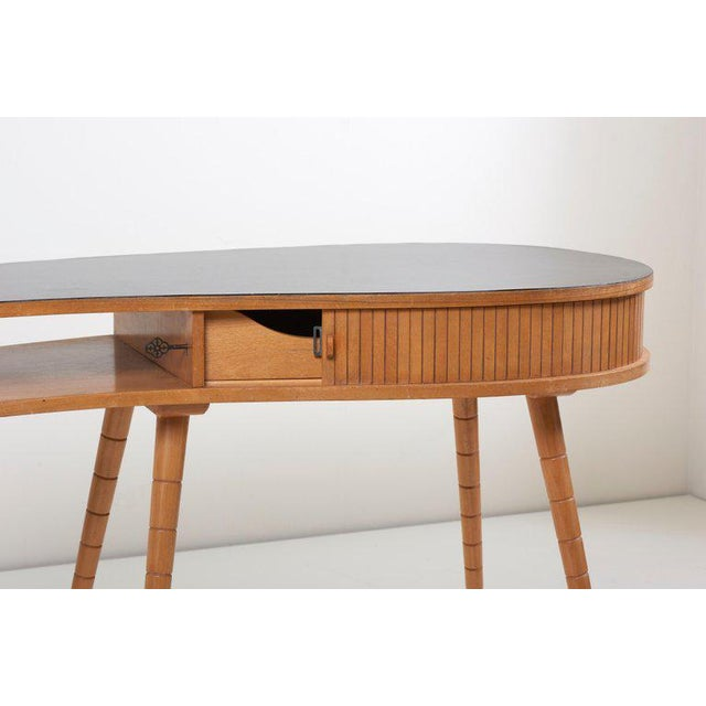 Black Light 1950s Ladies Desk or Vanity With Tambour Door Attributed to Eduard Ludwig For Sale - Image 8 of 13