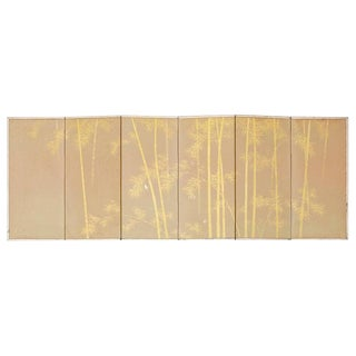 Japanese Miniature Six-Panel Screen Gilt Bamboo Grove For Sale