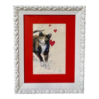 Vintage Calico Cat Kitty Watercolor Painting Signed Richard Gabriel Chase For Sale