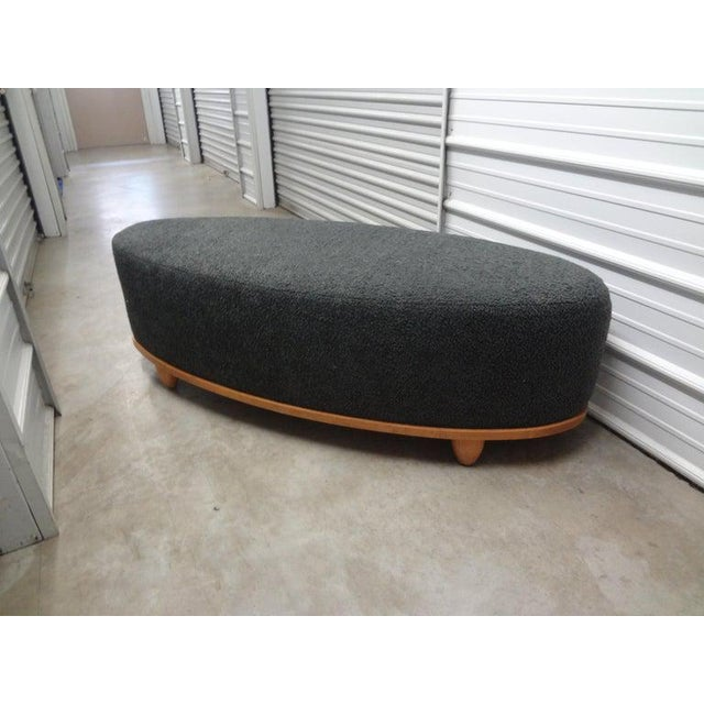 Large Mid-Century Oval Bench Upholstered in Gray Shearling For Sale - Image 9 of 13
