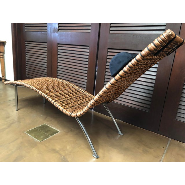 Metal Interior Wicker Chaise Lounge For Sale - Image 7 of 11