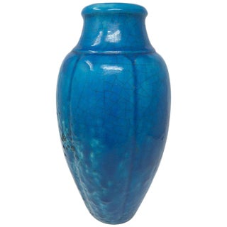 1930s Art Nouveau Raoul Lachenal Egyptian Blue Ceramic Vase