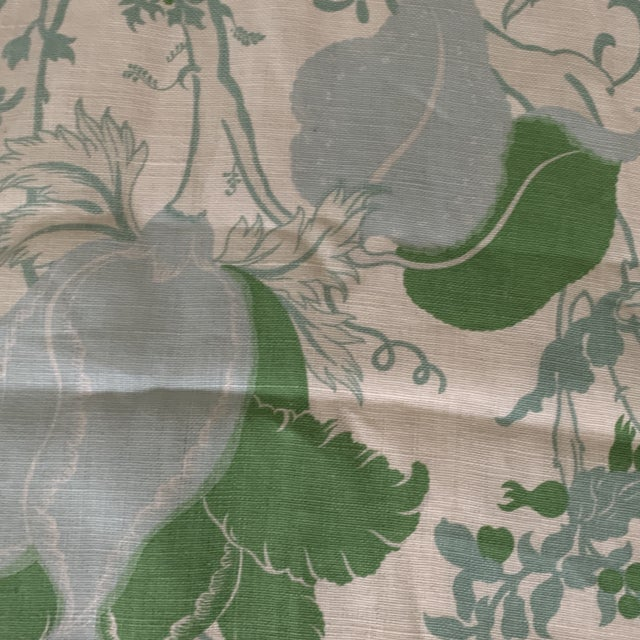 Contemporary Designer Blue and Green Floral Linen Fabric For Sale - Image 3 of 6
