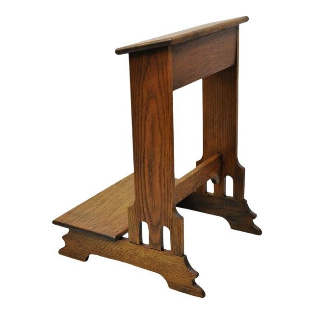 Vintage Arts & Crafts Mission Oak Wood Prayer Kneeler Kneeling Bench Seat For Sale