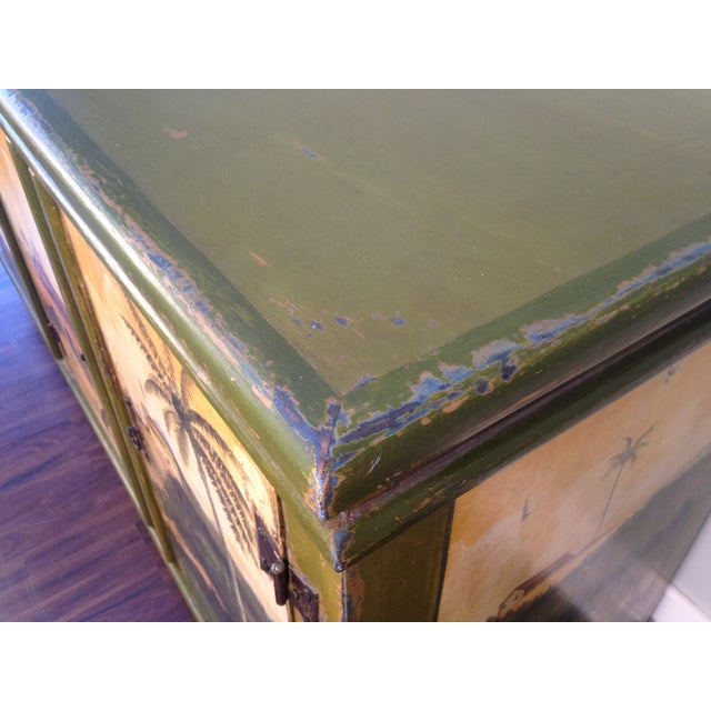 Artiero Brazil Tropical Palm Tree Hand-Painted Credenza Cabinet - Image 6 of 10