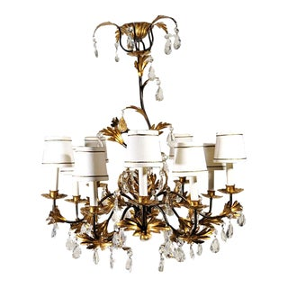 Italian Rococo Gold Leaf & Crystal Chandelier For Sale