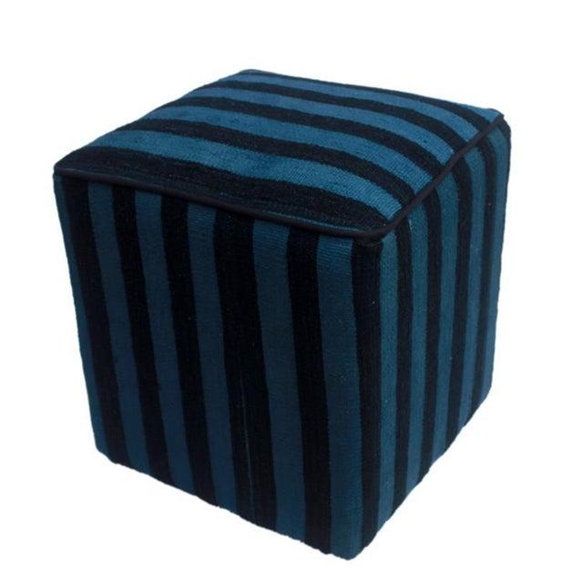 Teal Boho Chic Arshs Donnetta Black/Blue Kilim Upholstered Handmade Ottoman For Sale - Image 8 of 8