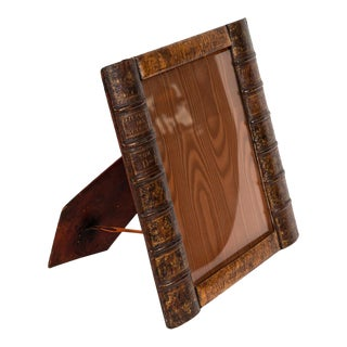 Early 20th Century Leather Book Picture Frame From England For Sale