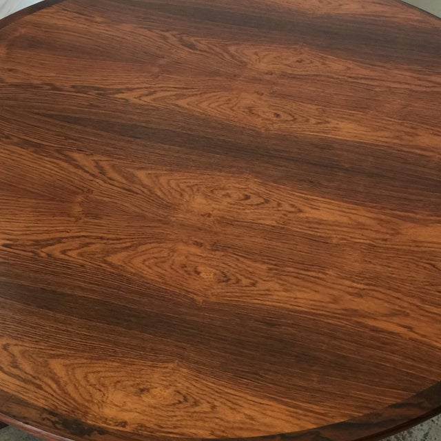 Impeccable Hans C. Andersen Danish Rosewood Round Coffee Table For Sale In Los Angeles - Image 6 of 8