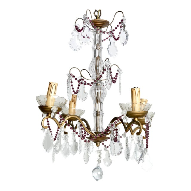 Four-Arm French Chandelier With Amethyst Beads & Pendalogue Crystals - Image 1 of 8