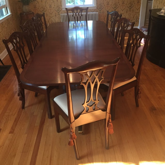 Brown Maitland Smith Regency Chippendale Carved Dining Set For Sale - Image 8 of 8