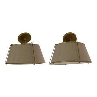 Rejuvenation Conical Flush Mount Brass Lighting - a Pair For Sale
