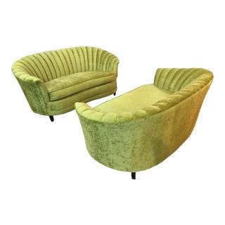 Mid-Century Modern Green Velvet Channeled Sofas - A Pair