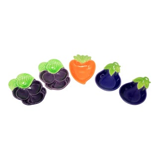 Vintage Made in Japan Ceramic Carrot, Eggplant and Plum Bowls - Set of 5 For Sale