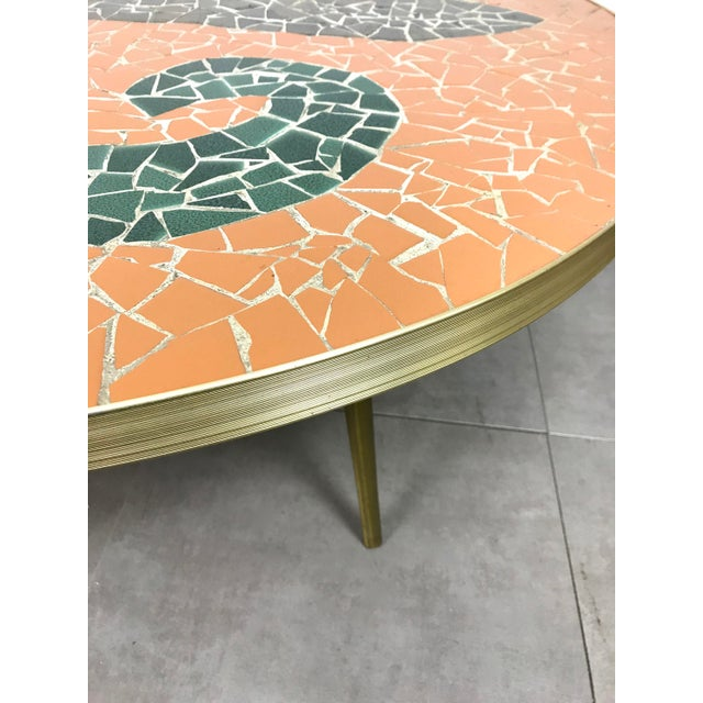 Green Italian Modern Round Mosaic Tile Coffee Table, Circa 1950's For Sale - Image 8 of 11