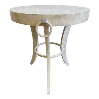 Regency Style Round Bone Tiled White Side Table For Sale