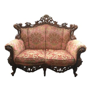 1920s Baroque Rococo Burgundy and Gold Love Seat