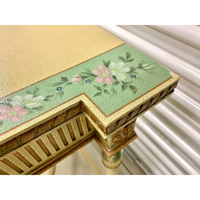 1970s French Country Hand Painted Maitland Smith Console Table For Sale - Image 5 of 11
