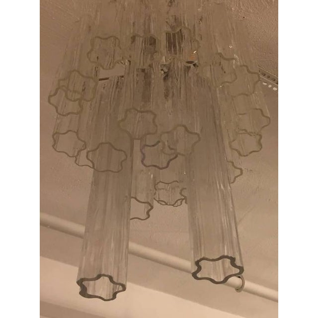 Silver Round Mid-Century Italian Tronchi Glass Chandelier For Sale - Image 8 of 8