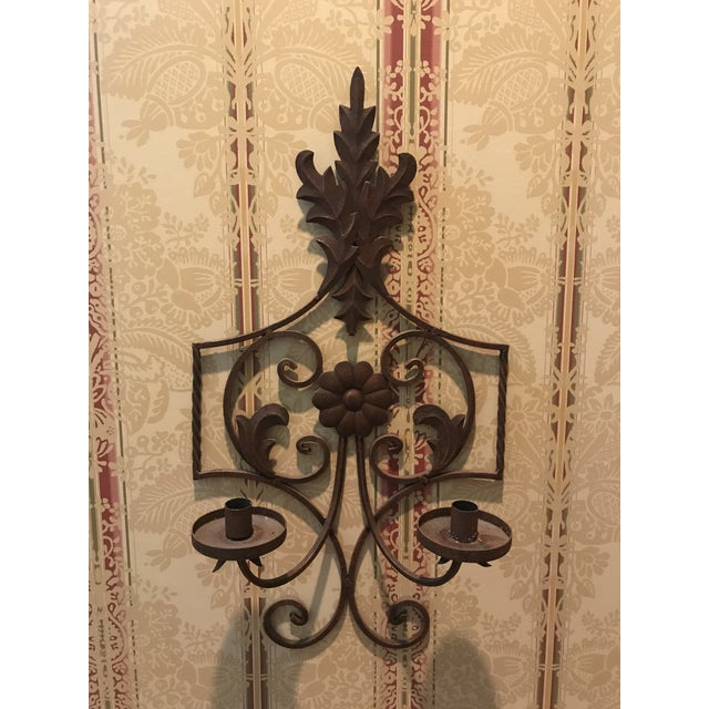 20th Century Art Nouveau Bronze Scrolled Wall Candleholder For Sale - Image 9 of 9