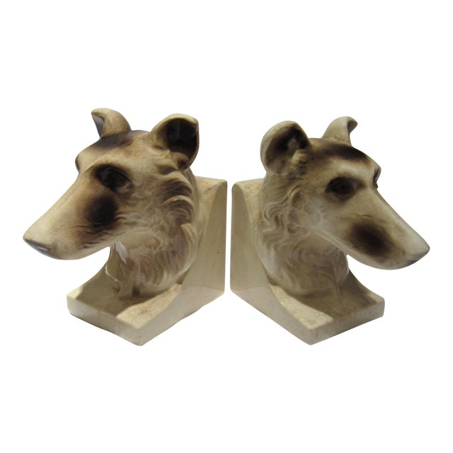 1950s Vintage Ceramic Dog Bookends - A Pair For Sale - Image 12 of 13