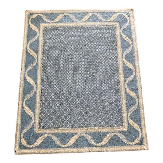 """Stark Carpet Bordered Rug Blues/Cream 3'9"""" x 3"""" For Sale"""