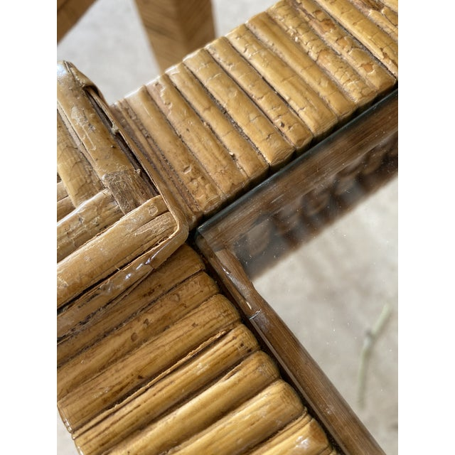 Camel Vintage Wicker Wrapped Bamboo Insert Side Tables - a Pair For Sale - Image 8 of 13