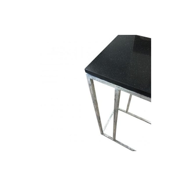 Metal Tray Side End Table With Black Marble Top - Image 4 of 4