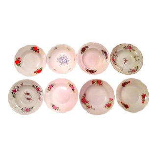 Vintage Mismatched Fine China Bowls- Set of 6 For Sale